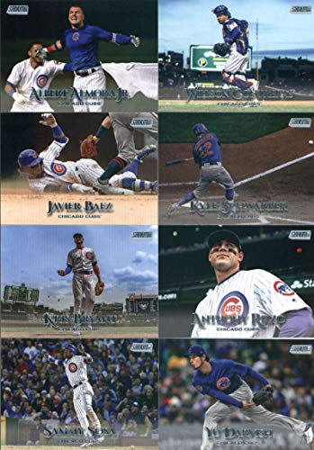 (2019 Topps Stadium Club Baseball Chicago Cubs Team Set of 12 Cards: Kyle Schwarber(#2), Javier Baez(#10), Willson Contreras(#18), Albert Almora Jr.(#19), Ernie Banks(#25), Ryne Sandberg(#38), Cole Hamels(#55), Jon Lester(#64), Kris Bryant(#71), Yu Darvish(#91), Anthony Rizzo(#100), Sammy Sosa(#233))
