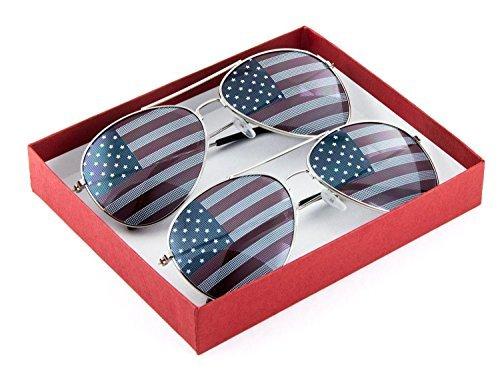 Patriotic American Flag Aviator Sunglasses USA Glasses Gift Box (2 Silver, USA Flag)