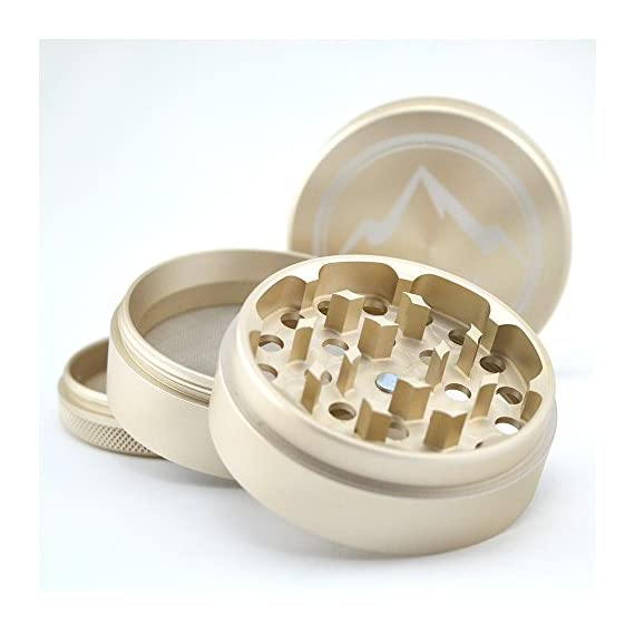 Herb Grinder Apex Premium 4 Piece With Pollen Catcher 2.5 Inch 4 piece grinder Top Rated Herb Grinder Includes carrying case and pollen scraper (Champagne Platinum) 3 <p>GET THE MOST OUT OF YOUR HERBS, WITH THE UNIQUE ATTENTION GRABBING STYLE OF AN APEX PREMIUM-QUALITY HERB GRINDER TODAY FREE Shipping - Lifetime Warranty - Order Now Save Money by Conserving Your Herbs - Using the newest in CNC technology, our blades are the sharpest and most effective of any grinder ever made giving you a slower burning, longer lasting herbal experience. Pump Up the Potency - Our strong steel screens are perfect for collecting the finest pollen, and increasing the potency of your herbs. We even include a pollen scraper to maximize pollen collection. World's Smoothest Grinding Experience - The magnetic top and friction reducing ring to allow for the smoothest grinding experience possible. Built to Last a Lifetime - Apex grinders are made from the highest quality aircraft grade aluminum making them tougher, and more durable than other grinders. Lifetime Warranty and FREE Shipping - If for any reason you're unsatisfied with your Apex Premium-Quality Herb Grinder, you can send it back for a full refund. No questions asked.</p>