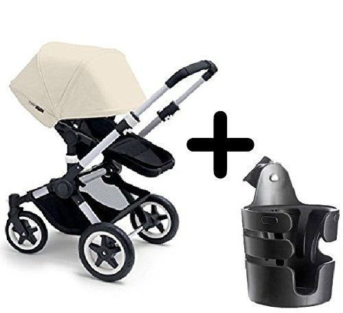 Bugaboo 2015 Buffalo Stroller Complete Set in Aluminum/Off-White Canvas Fabric Set + Bugaboo Cup Holder For Sale
