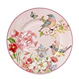 Salad/Dessert/Bread&Butter Plate Set of 2 Royal Fine Bone China, Vintage Bird Floral Plate, 8-Inch (Pink)