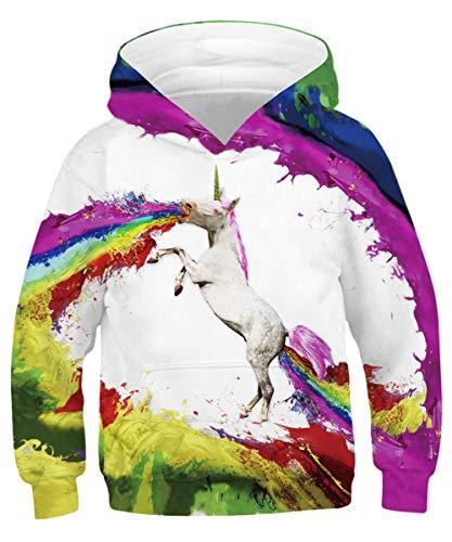 GLUDEAR Toddler Teen Youth Galaxy Animals Sweatshirts Pockets Long Sleeve Hoodies 4-16Y,Unicorn Print,8-11 Years ()
