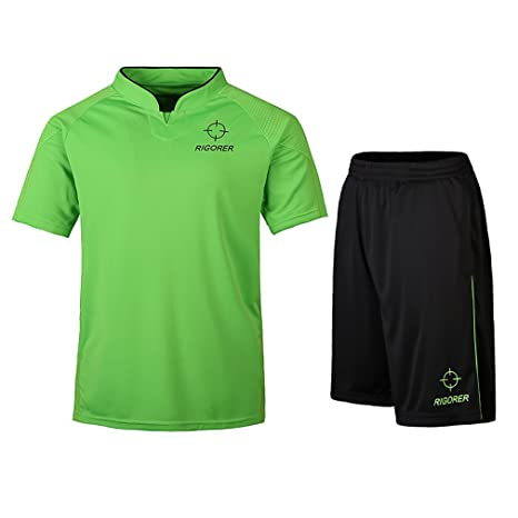 7992cca33 RIGORER Short-Sleeve Soccer Uniforms Jersey and Shorts Set Neon Green Black  3XL