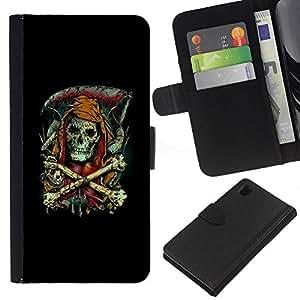 LECELL--Cuero de la tarjeta la carpeta del tirón Smartphone Slots Protección Holder For Sony Xperia Z1 L39 -- Parca - Goth Esqueleto --