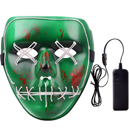 MUITOBOM Cosplay Mask Halloween Scary LED Light up Mask,EL Wire Grin Masks Festival Cool Spooky Parties (Green-Brown) -