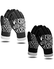 Touch Screen Gloves - Winter Gloves Flower Printing Knit Elastic Cuff Thermal Gloves for Texting, Running, Driving