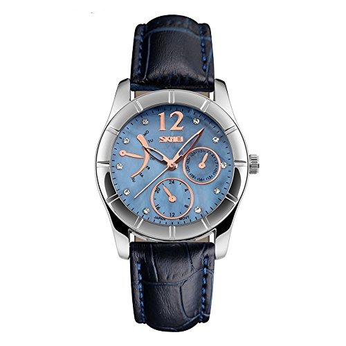 J.Market Womens Quartz Watch 50 Meters Waterproof Quartz Fashionable Watch with Genuine Leather Band (Blue)