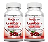 Health Labs Nutra 50:1 Triple-Strength Cranberry Concentrate 60 Day Supply with Vitamins C & E – Promotes Urinary Tract and Immune Support- (Pack of 2)