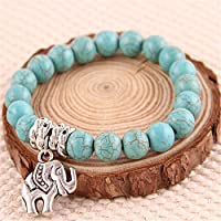 Womens Natural Blue Turquoise Stone Silver Elephant Beaded Charm Bracelet 8mm