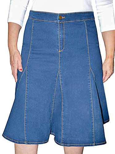 Kosher Casual Women's Modest Knee Length Flared Stretch Denim Skirt With Gored Seamed Panels No Slits Stonewashed Blue Size Extra Large (Stretch Gored Skirt)