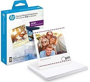 HP Social Media Snapshots - Papel fotográfico adhesivo, 25 hojas de 10 x 13 cm