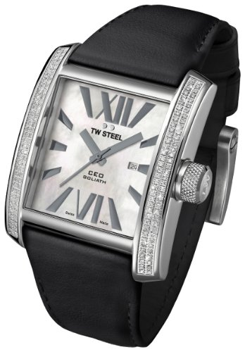 TW Steel CE3015B Men's CEO Goliath Diamond Accented Bezel MOP Dial Black Leather Strap Watch (Men Mop Dial)