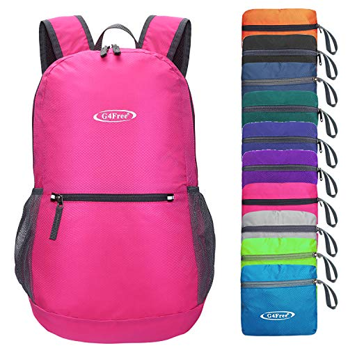 G4Free 20L Lightweight Packable Backpack Water Resistant Hiking Daypack Foldable Camping Outdoor Backpack Handy Bagk(Rose)