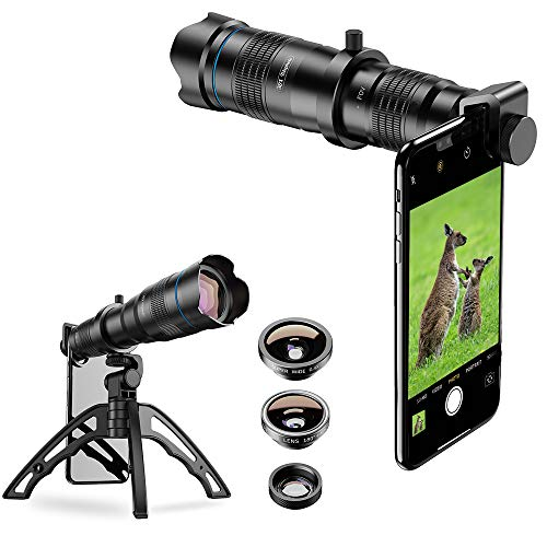SEGEMS - High Power 36x HD Telephoto Lens with Tripod for iPhone XR,XS MAX,XS,X,8,7,6,6Plus Samsung Smartphone Plus New 2020 180 Degree Fisheye Lens, Wide Angle Lens, 25X Macro Lens and Remote