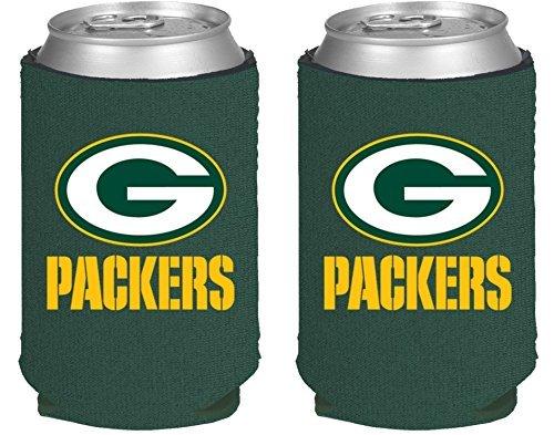 NFL Football 2014 Team Color Logo Can Kaddy Holder Can Cooler 2-Pack (Green Bay -