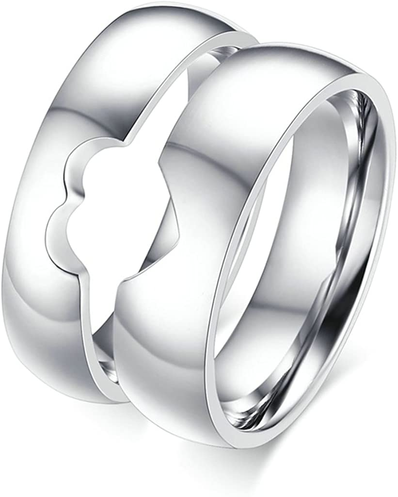 Price for 1pc Bishilin 5MM//6MM Stainless Steel Hollow Puzzle Heart Women Men Wedding Rings Matching Set