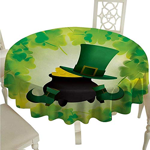 St. Patricks Day Elegance Engineered Christmas Tablecloth Leprechaun Hat and Shoes Costume with Pot of Gold with Shamrock Leaves for Kitchen Dinning Tabletop Decoration D50 Forest Green