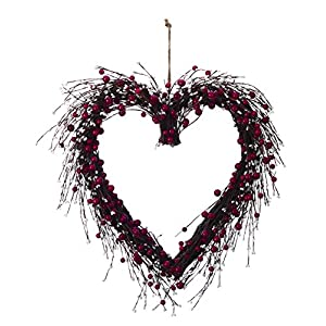 Large Red and White Berry Heart-Shaped Wreath Valentines Wall Decoration 95