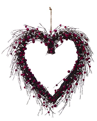 (Large Red and White Berry Heart-Shaped Wreath Valentines Wall Decoration)