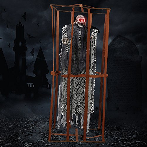 (LITTLEGRASS Halloween Props Scary Hanging Skull Ghost Decorations Animated Skeleton Prisoner with Sound and Glowing Red Eyes Toys for Party Supply Decor 35.4inch - Please let me Out!)