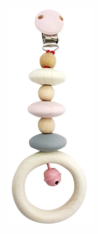 Holzspielzeug nature rosa Schnullerkette aus Holz Hess 13718