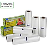 "Smarthome Vacuum Sealer Rolls with Cutter Box 6 Pack 6"" x16.5' and 8"" x16.5' Food Storage Bags Rolls Commercial Grade Bag for Food Saver and Sous Vide …"