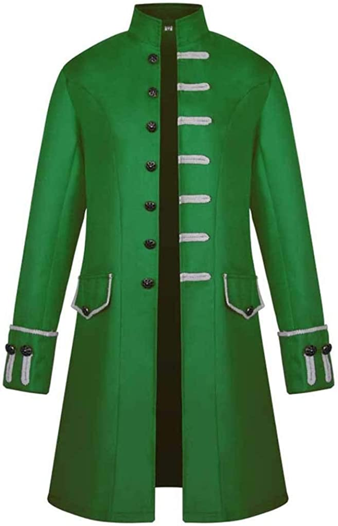 ELECTRI Manteau R/étro Homme Hiver Chaud,V/êtements Jacket Redingote Gothique Uniforme Costume Partie dext/érieur Blouson Mode Veste Goth Steampunk Uniforme Costume Praty Outwear Coat