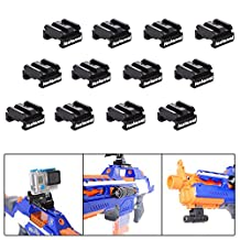 Fantaseal® Nerf to Picatinny Rail Adapter Mount Aluminum Alloy Picatinny Rail Adapter for Nerf Gun 18mm-21mm Hardpoint MOD Kit Nerf Guns Attachment Nerf Gun Accessories Nerf Gun Mount Air Soft Gun Mount for Nerf Blaster Standard Military Tactical Gear Scope Led Flash Light Night Vision Device etc (12 pcs)