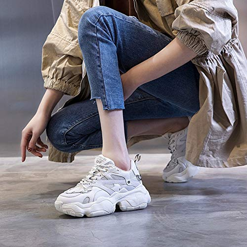 Zhijinli Blancas Tamaño Mujer Con 7 7size Zapatillas Plataforma Zapatos Cordones 5 De Deportivas Casuales rqwr1fx48