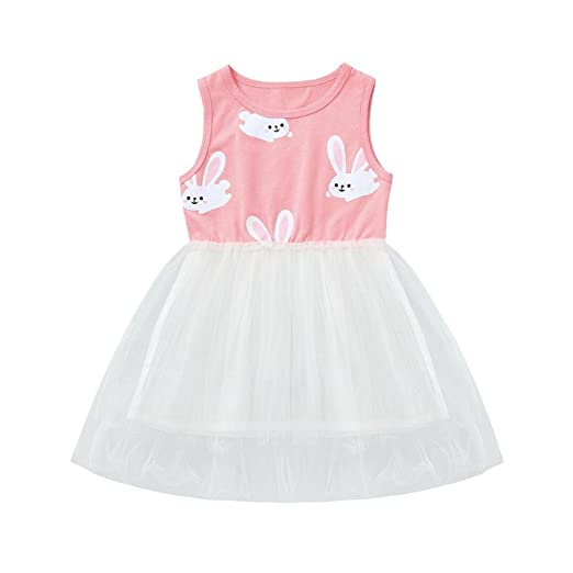 6e667aef6c Sagton® Baby Girls Cute Cartoon Rabbit Print Sleeveless Princess Dresses  (3T)