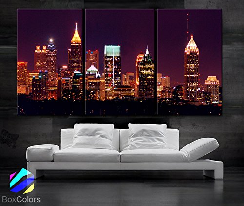 Large  Ea Art Canvas Print Beautiful Atlanta Skyline Light Buildings Wall Home (Included