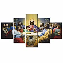 Jesus The Last Supper Wall Art Canvas Prints Art Home Decor For Living Room Modern Pictures Pictures 5 Panel Large HD Printed Painting Framed Ready to Hang