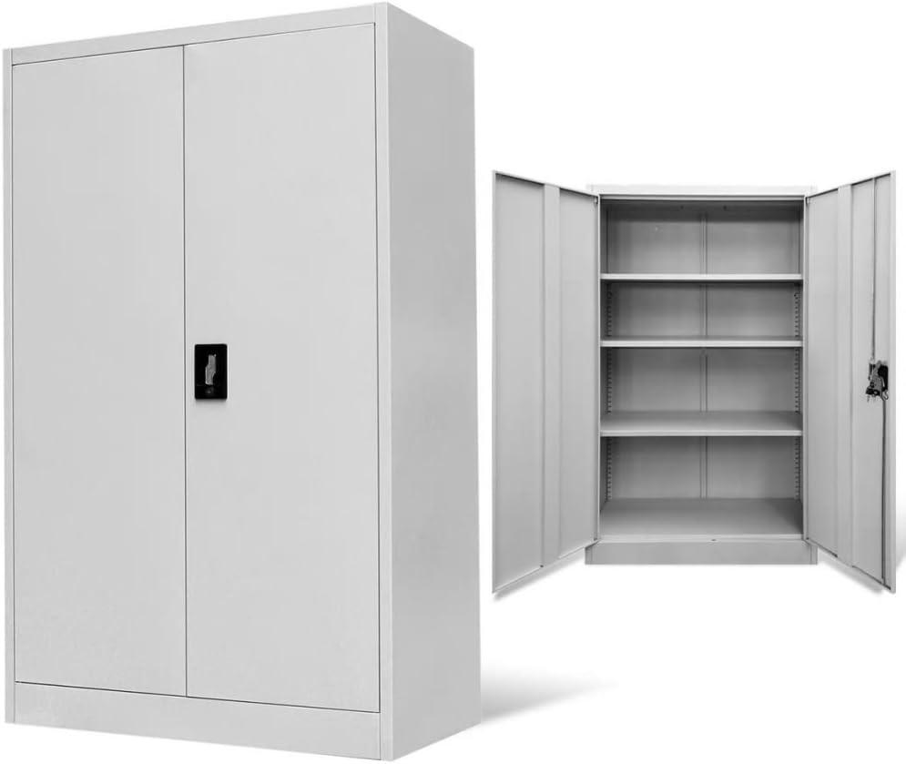 mewmewcat Armario Archivador de Oficina Armario Metalico Armario de Oficina Mueble Archivador Mueble de Oficina Acero con 2 Puertas y 3 Estantes Carga Máxima por Estante 30kg 90x40x140cm Gris