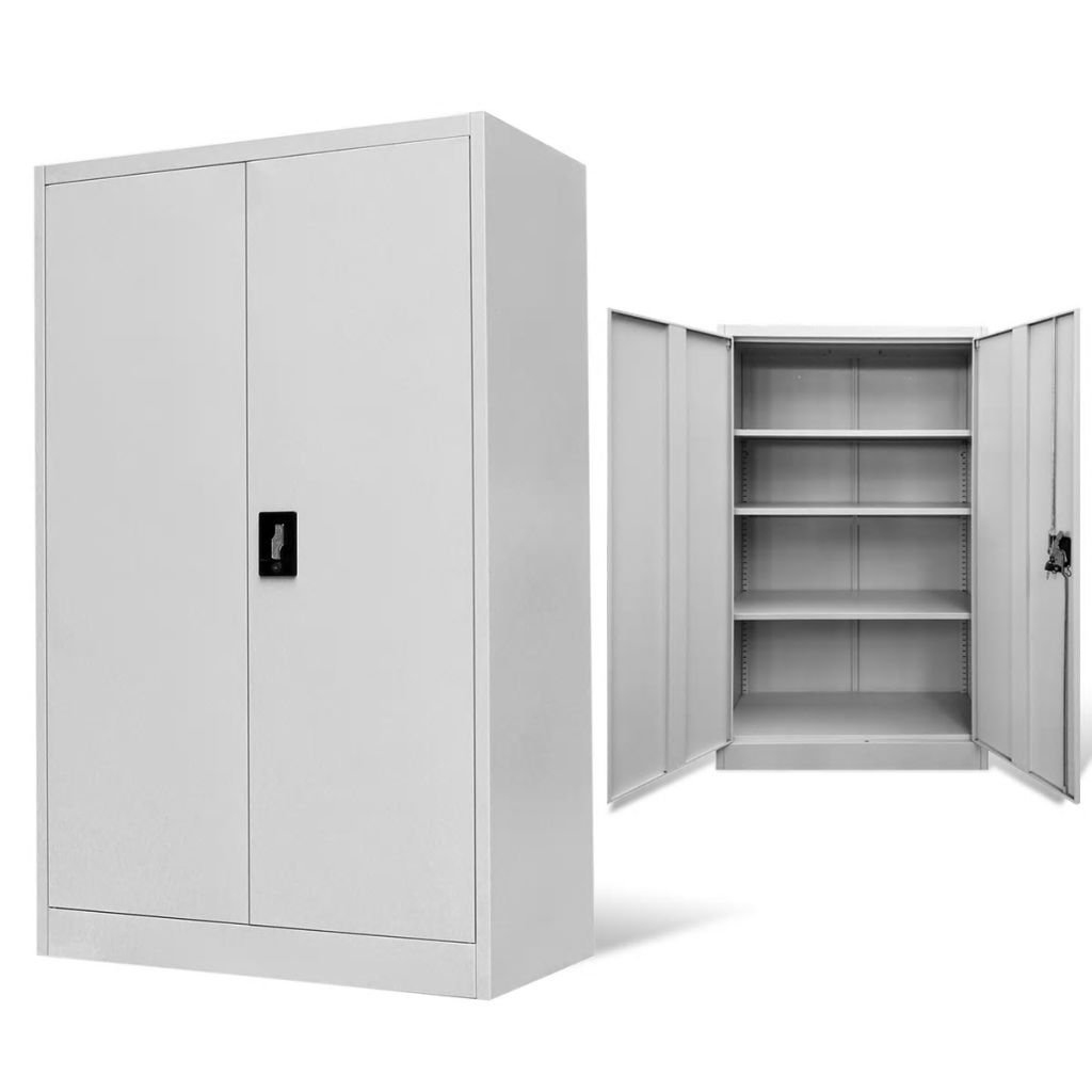Tidyard Floor Cabinet Storage with 2 Doors & 3 Adjustable Shelves, 3-Point Locking System Office Decor Steel Gray 35.4''x15.7''x55.1''