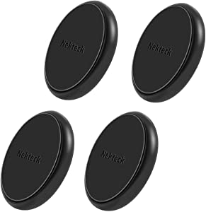 Nekteck Universal Stick on Flat Magnetic Car Mount Phone/Key Holder for iPhone X/8/7 6S/ 6 6 Plus, SE, Galaxy S9/S8 S6/S7 Note 9 8 5, LG G7 G6, Pixel 3/2 XL Nexus 6P 5X, Echo Dot More [4Pack]