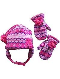 N'Ice Caps Girls Fair Isle Print Micro Fleece Hat And Mitten Set