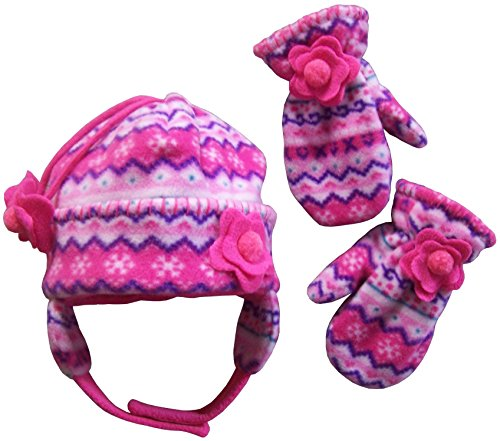 N'Ice Caps Girls Fair Isle Print Micro Fleece Hat and Mitten Set (3-5 Years, fuchsia/pink/purple/turq/white)