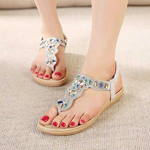 Sandalias Chanclas Planos Sandalia Para Mujer Zapatos Verano de Bohemia Adorno de Rhinestone Plateado