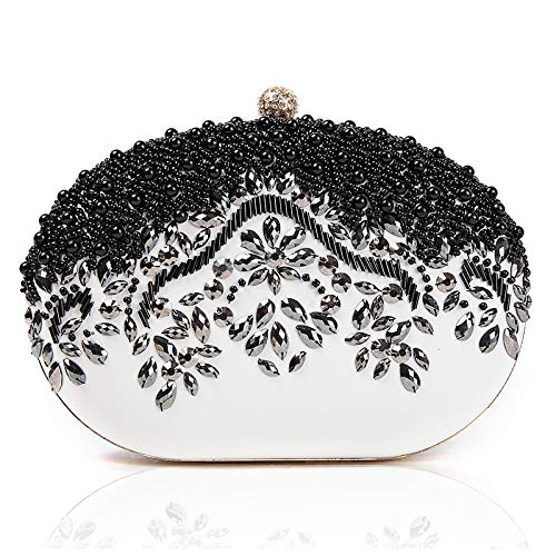 GSYDXKB Abend Party Tasche Cocktail Party Perle Tasche Black high-Grade Beaded Evening Bag Handmade Pearl Diamond Evening Bag Clutch Bag