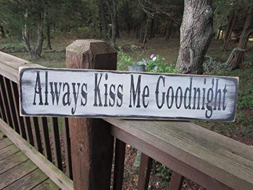 Tiukiu Always Kiss Me Goodnight Rustic Wood Sign Wooden Plaque Wall Decor