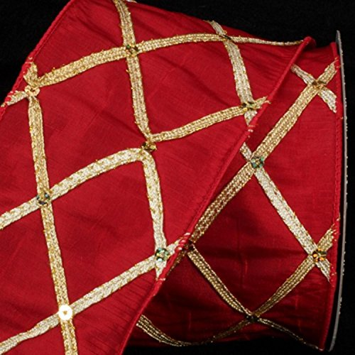 Red Diamond Print Taffeta Wired Craft Ribbon 3