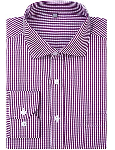 - DOKKIA Men's Formal Business Long Sleeve Plaid Striped Poplin Dress Shirt (US M=Label L, Purple White Checkered)