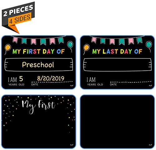 Funplus/Fun+ Ultimate Photo Sharing Keepsake Sign Set. Gift for Kids. Photo Booth Prop, First time of Christmas Photo first day of school photo. Liquid chalkboard -