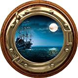 """24"""" Port Scape Sea Window View Ship in Moonlight #1 BRASSWOOD Porthole Wall Decal Sticker Graphic Pirate Boat Ocean Kids Bedroom Playroom Nursery Decor Wall Art Room Decor Removable Fabric Vinyl"""