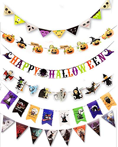 (Halloween Banners (Set of 6),various styles, Color card paper Flag,Indoor/Outdoor/bar for Halloween)