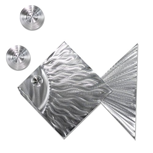 Statements2000 3 Piece Set Decorative Metal Fish Tropical Metal Wall Art by Jon Allen Metal Art, Island Time, Silver (Sculpture Fish Abstract)