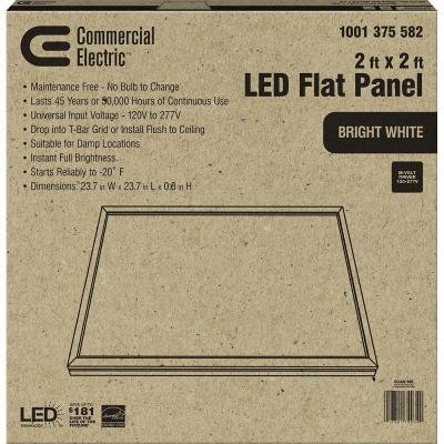2 ft. x 2 ft. White LED Edge-Lit Flat Panel T-Bar Grid Recessed/Flushmount