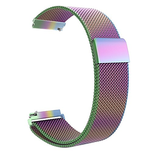 Fintie Galaxy Watch 46mm / Gear S3 Frontier Classic Band [Large], 22mm Milanese Loop Stainless Steel Replacement Smartwatch Bracelet Wrist Strap with [Unique Magnet Lock] for Women Men, Rainbow