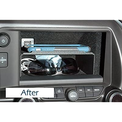 C7 Corvette Stingray/Z06/Grand Sport 2014+ Dash Storage Accessory Shelf - Black Powder Coated Aluminum: Automotive