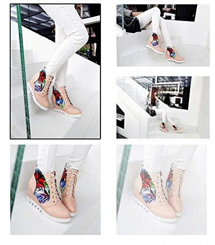 Planas Los 43 Estudiantes altos color Mujer Dentro Tamaño Rosado Casuales Altos Átelos Zhrui 35 botas zapatos Para Zapatos Dulces 43 De Rosado qnRwx6CCzX